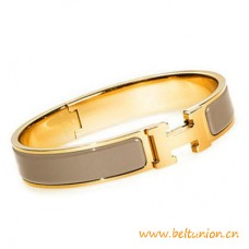 Top Quality Narrow H Bracelet Gold Plated with Taupe Enamel