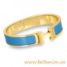 Top Quality Narrow H Bracelet Gold Plated with Blue Enamel