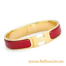 Top Quality Narrow H Bracelet Gold Plated with Red Enamel