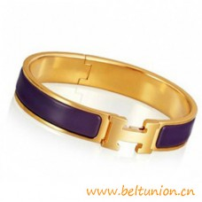 Top Quality Narrow H Bracelet Gold Plated with Purple Enamel