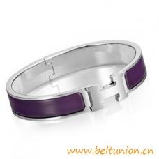 Top Quality Narrow H Bracelet Sterling Silver with Purple Enamel