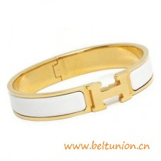 Top Quality Narrow H Bracelet Gold Plated with Snow White Enamel