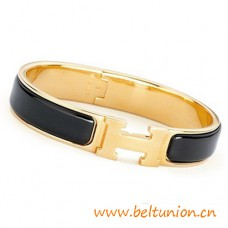 Top Quality Narrow H Bracelet Gold Plated with Black Enamel