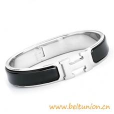 Top Quality Narrow H Bracelet Sterling Silver with Black Enamel