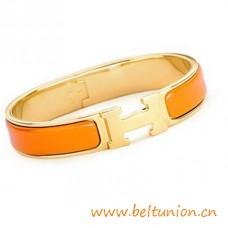 Brazalete estrecha h de calidad superior oro plateado con esmalte naranja