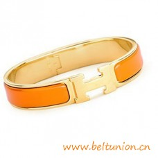 Top Quality Narrow H Bracelet Gold Plated with Orange Enamel