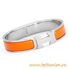 Top Quality Narrow H Bracelet Sterling Silver with Orange Enamel