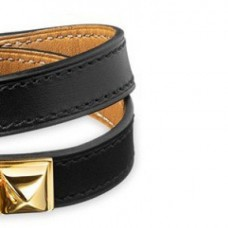 Top Quality Narrow Bracelet Leather with Gold Plated HW