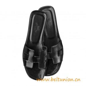 Original Design Oran Sandals Epsom Leather Slippers Black