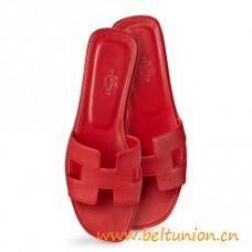 Original Design Oran Sandals Epsom Leather Slippers Sao Red