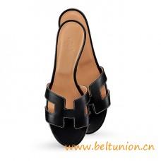 "Original Design Oasis Sandals Black Leather Slippers 1.9"" Stacked Heel"
