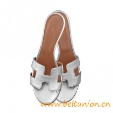"Original Design Oasis Sandals Silver Leather Slippers 1.9"" Stacked Heel"