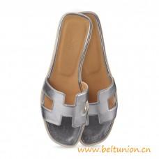 Original Design Oran Sandals Leather Slippers Silver