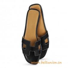 Original Design Oran Sandals Leather Slippers Black