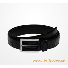 Top Quality Crocodile Leather Belt Black with Polished Steel Buckle