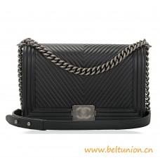Top Quality Black Herringbone Chevron Calfskin Boy Bag