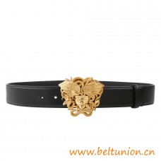 Top Quality Winged Medusa Vitello Leather Belt Black