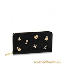 Top Quality Zippy Wallet in Black Epi Leather with Love Lock Edition